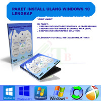 DVD CD install ulang Windows 10 lengkap driverpack Solution + software
