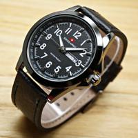 Jam Tangan Pria Swiss Army Kulit Coklat Hitam-Putih Tgl & Hari Aktif