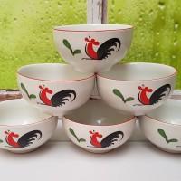 (HANYA GOJEK) SIERA MOTIF AYAM JAGO Mangkok Keramik 4 inchi KPQ4RB
