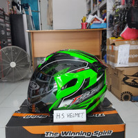 helm GM FIGHTER motif carbon fiber green fluo