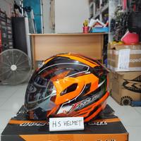 helm GM FIGHTER motif carbon fiber orange fluo