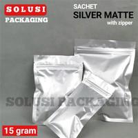 SACHET SILVER MATTE 15GR/PLASTIK KLIP AKSESORIS HP/KEMASAN KOPI/BAG