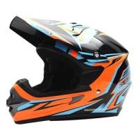 Helm Cargloss MXC Xentury Orange Blue Deep Black - SESUAI GAMBAR, SIZE M