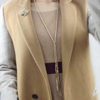 Perhiasan Kalung Liontin Panjang Twist Suede Tassel Emas Unik Termurah