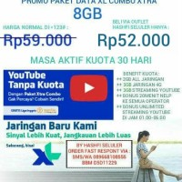 PAKET INTERNET XL XTRA COMBO 8GB + UNLIMITED STREAMING YOUTUBE