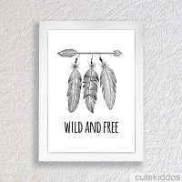 Jual Poster Dreamcatcher / Quote Wild and Free / Pigura Hiasan Dinding Murah