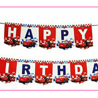 Banner flag bunting happy birthday ulang tahun karakter cars car mobil