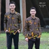 HB 222 baju batik pria eksklusif lengan panjang kemeja hem modern
