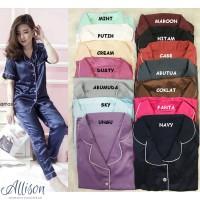 Piyama Satin Wanita Baju Tidur Dewasa Silk Big Size Jumbo Plus S M L