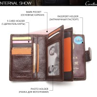CONTACT'S Cowhide Passport Cover Purse Brand Male Credit&Id Car Wallet