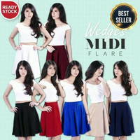 PROMO NEW Wedges Midi Flare Skirt Bandage Fever Uninamu Urmod Rok TERM