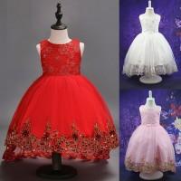 Gaun Renda Untuk Anak Perempuan Motif Bunga Bahan Kain Tule Untuk