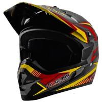 Cargloss MXC Supertrack Helm Motocross - Red Yellow Deep Black