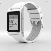 Smartwatch America Made Pebble 2 3D Model White