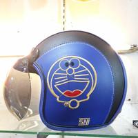 Helm Bogo Retro Doraemon Biru Putih Karakter Kartun