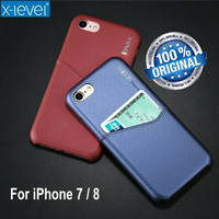 iPhone 7 / 8 Luxury Leather Card Back Cover Hp Case Kulit X-LEVEL