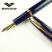 Fountain Pen BAOER 388 Black Metal Medium Gold