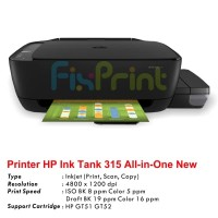 Ink Tank Printer HP 315 All-in-One Print Scan Copy Pengganti GT5810