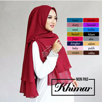 Jilbab Instan Syari Hijab Kerudung Khimar Non Pet Ceruti Polos 2Layer
