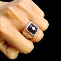 Cincin Pria Black Onyx Stone Emerald Gelang Kalung Sterling Silver N
