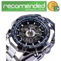 Forsining Jam Tangan Mechanical Luxury Pria - SLZe126 - Silver Hitam