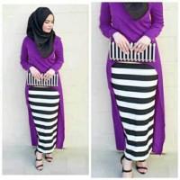 Setelan Muslim Gita 3 in 1 Stripe Salur/ Baju Murah/ Baju Setelan