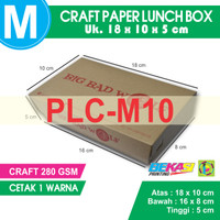 PLC-M10 - Paper Lunch Box Kraft Liner 280 GSM Ukuran M + Cetak 1 Warna