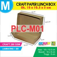 Craft Paper Lunch Box / Kotak Makan Polos Uk. M  + Laminasi | PLC-M01