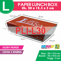 PLI-L30 | Paper Lunch Box / Kotak Makan Kertas Uk L + Cetak 3 Warna