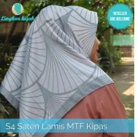 jilbab segi empat saten lamis motif kipas harga grosir murah supplier