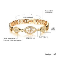 Jam Tangan Quartz Wanita dengan Strap Rantai Warna Emas & Kristal &
