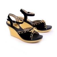 sepatu wedges CANTIK - wedges FORMAL PESTA CEWEK GA 506 Black Gold