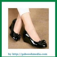 Sepatu Kerja Wanita Pantofel Casual Wedges High Heels Hitam Murah PSHT