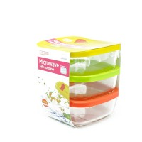 LOCK&LOCK Glass Container 320ml Set (isi 3) LLG501S3