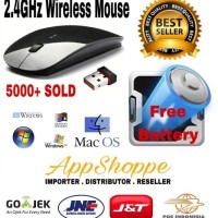 Terbaru Wireless Mouse Apple 2.4Ghz For Macbook Laptop Notebook Black