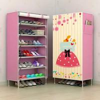 NEW Rak Sepatu Kain Lemari SEPATU 6 Ruang NEW MOTIF-PINK WAITING GIRL