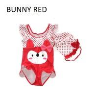 BABY KIDS SWIMSUIT BAJU RENANG ANAK BAYI IMPORT - BUNNY RED - SIZE XL