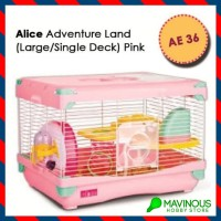 Alice Hamster Cage PINK Single Deck Mainan Kandang Happy Pet Lari Lucu