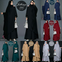 Baju umroh / Setelan gamis hitam / Pakaian hijab syari : Fatima Syari