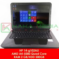 Laptop HP 14 AMD A4 Quad Core setara Core i3 Ram 2GB HDD 500 GB Mulus