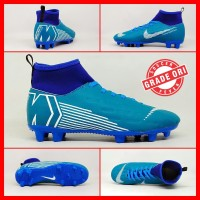Sepatu Sepak Bola Anak Nike Mercurial X Vapor Biru List Putih Boot Kid