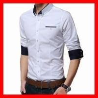 Harga baju kemeja pria lengan panjang cowok slimfit laki laki mr | Hargalu.com