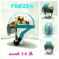 Helm Bogo Retro Anak 1-6 th Motif Frozen Biru Muda Putih