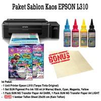 TERBARU PRINTER EPSON L310 Paket Sablon Kaos Gelap-Terang Tinta