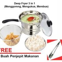 Deep Fryer 22 cm Multifungsi 3 in 1 - Stainless Free Penjepit Makanan