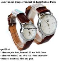 Grosir jam tangan Couple Tanggal Sk Kulit brown white