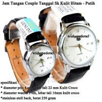 Grosir jam tangan Couple Tanggal Sk Kulit black white