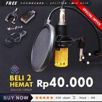 Microphone Mic Kondenser BM 800 PAKET RECORDING / Stand + Pop Filter