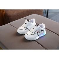 Sepatu LED Warna Putih Sepatu Fila Kets Anak Unisex Alas Karet Impor