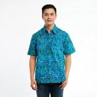 Batik Pria Tampan - Kemeja Abs Blue Taro Leaves